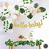 Sweet Baby Company Greenery Boho Baby Shower Decorations Neutral with Balloon Garland, Oh Baby Banner, Ivy Leaf Garland Vines Decoration,  Greenery Decor for Jungle, Safari, Woodland Backdrop Theme