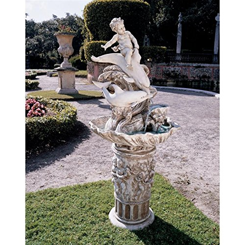 Water Fountain – 4 Foot Tall Young Poseidon with Dolphins Garden Decor Fountain – Outdoor Water Feature For Sale