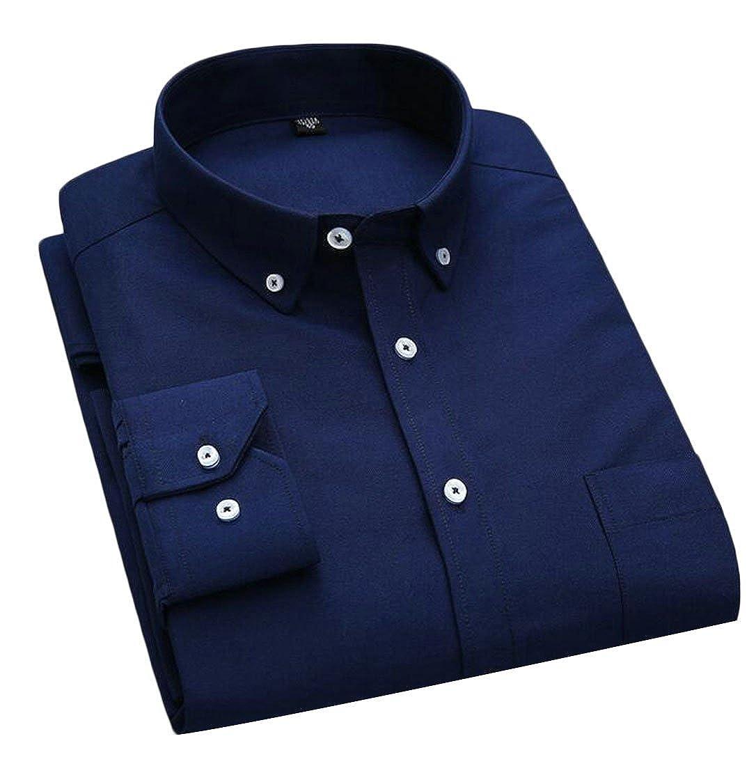 SELX Men Fashion Easy Care Long Sleeve Button up Slim Oxford Shirt