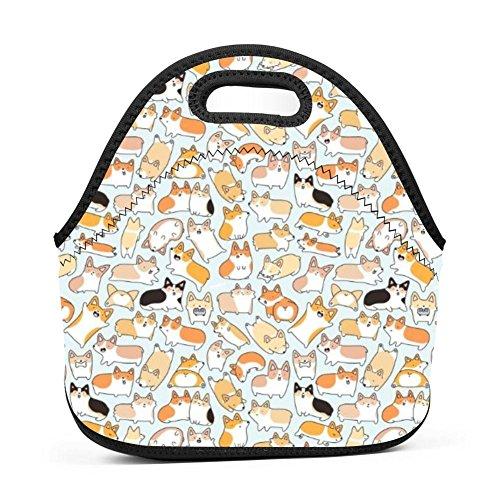 [해외]Corgi Dogs 단열 네오프렌 런치 백 남성 여성 및 아동용 - 재사용 가능한 부드러운 런치 박스 직장과 학교용 방수 3D 프린트 / Corgi Dogs Insulated Neoprene Lunch Bag for Men Women and Kids - Reusable Soft Lunch Box for Work and School Wat...