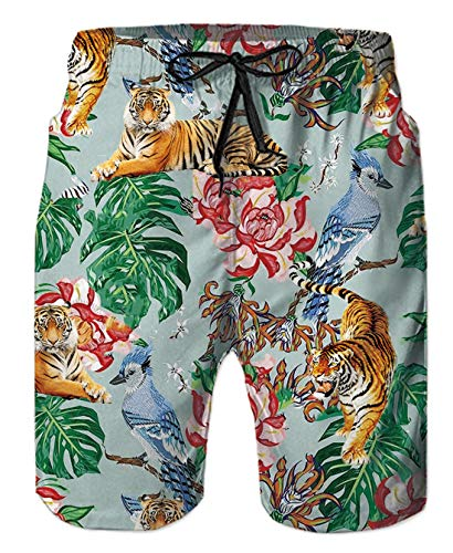Uideazone Men's 3D Flower Tiger Printed Shorts Quick-Dry Swim Beach Pants Boardshorts Surf Shorts Board Trunks