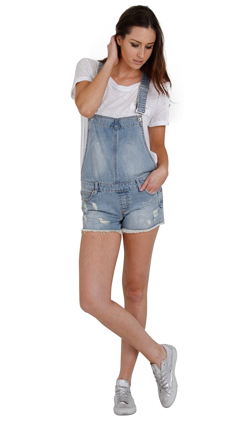 Dungaree Shorts in Faded Destroyed Denim Ladies Denim Bib Overall Short  Shortall WOM111: Amazon.co.uk: Clothing