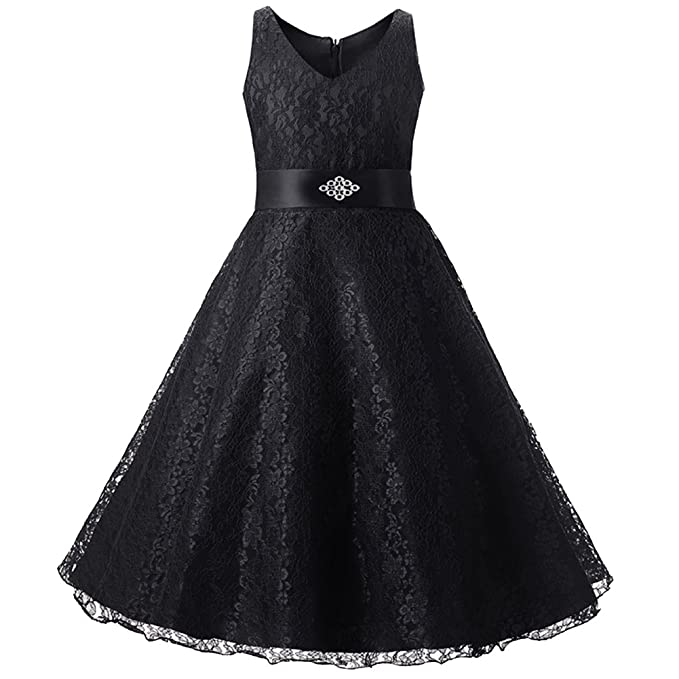 a91a14200e4c0 LSERVER-Wedding Floral Lace Overlay V-Neck Flower Girl Dress Rhinestone  Toddler Bridesmaid Pageant