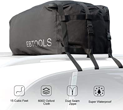 15 Cubic Feet Soft Car Roof Bag with 2 Heavy Duty Adjustable Straps Fits All Cars AUPERTO Waterproof Rooftop Cargo Carrier Bag