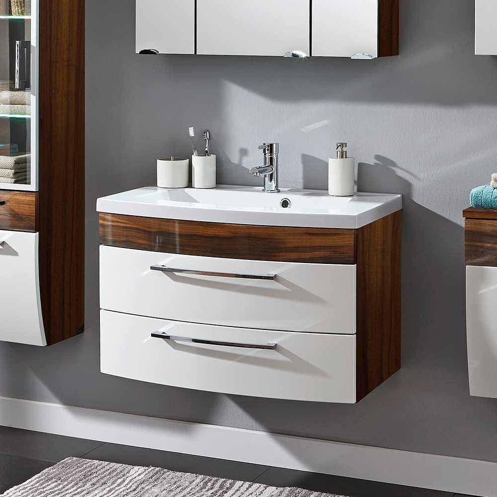 Pharao16 Badezimmer Waschbeckenschrank in Weiß Hochglanz Walnuss 16