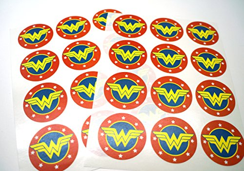 Wonder Woman Stickers: Pack of 24 Circle Stickers - Free Shipping