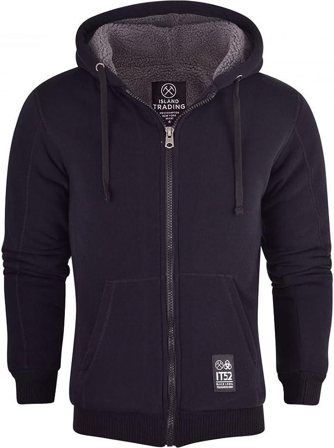 Mens Brave Soul BORG HOODIE Sherpa FLEECE lined Zip Up Hooded Coat Track Jacket