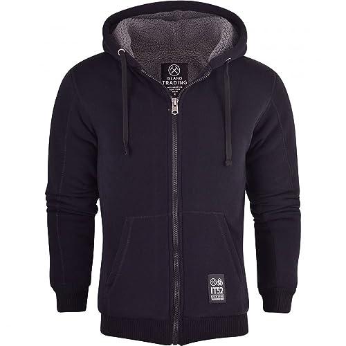 Island Trading Mens High Quality Padded Borg Fleece Sherpa Lined Full Zip Up Hoodie Sweatshirt Jacket