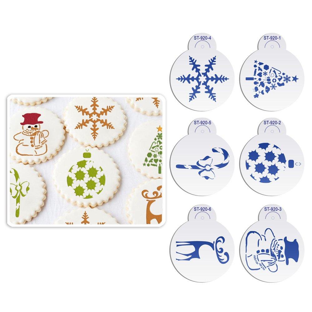 ART Kitchenware 6pcs/set Christmas Decoration Stencil Set for Cookies (Reindeer, Ball, Crutch, Snowflakes) Plastic Decor Craft Mold Beige/Semi-Transparent ST-920S AK ART KITCHENWARE