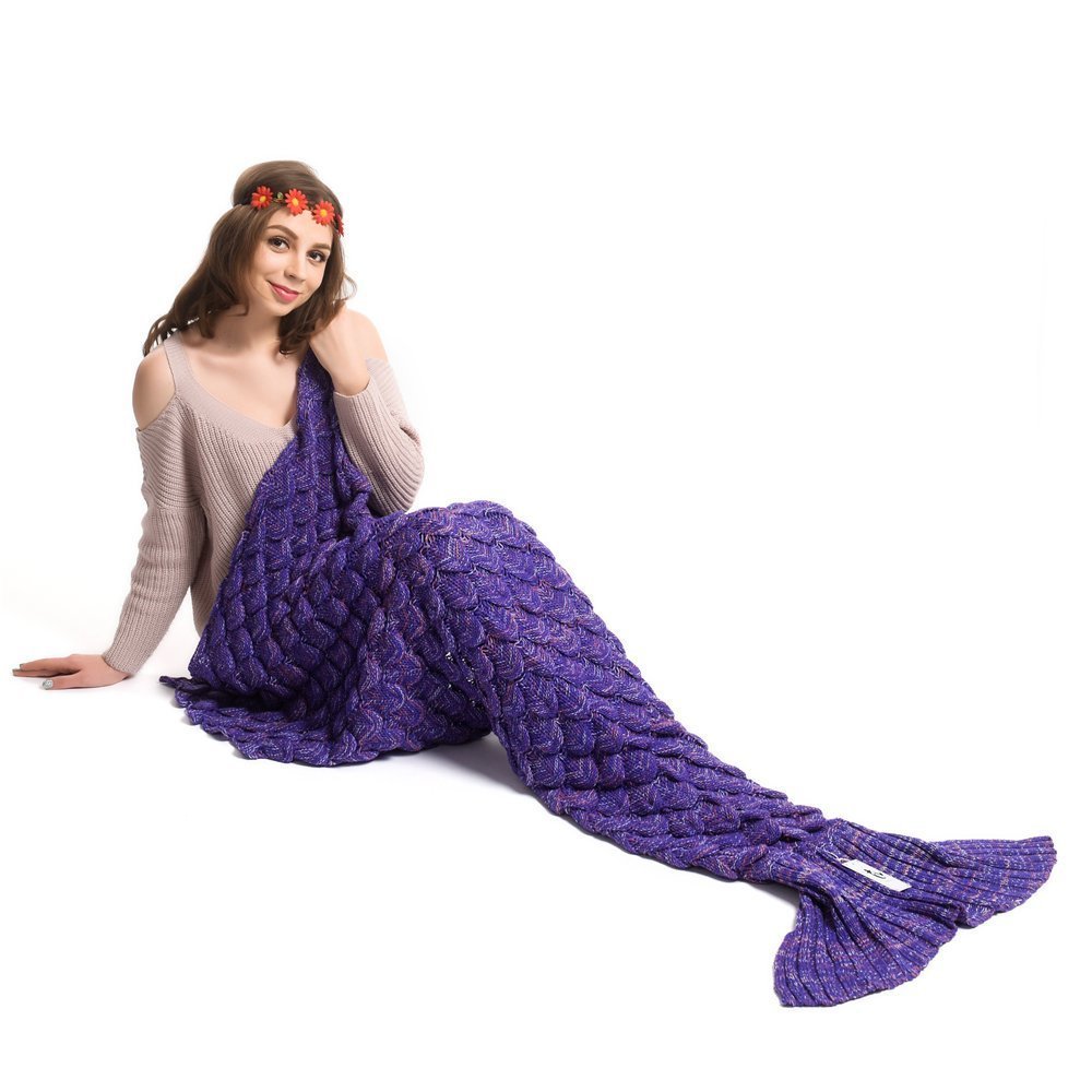 Kpblis All Seasons Soft Kintted Mermaid Blanket Tail for Kids and Adults 71-35-inches( Purple)