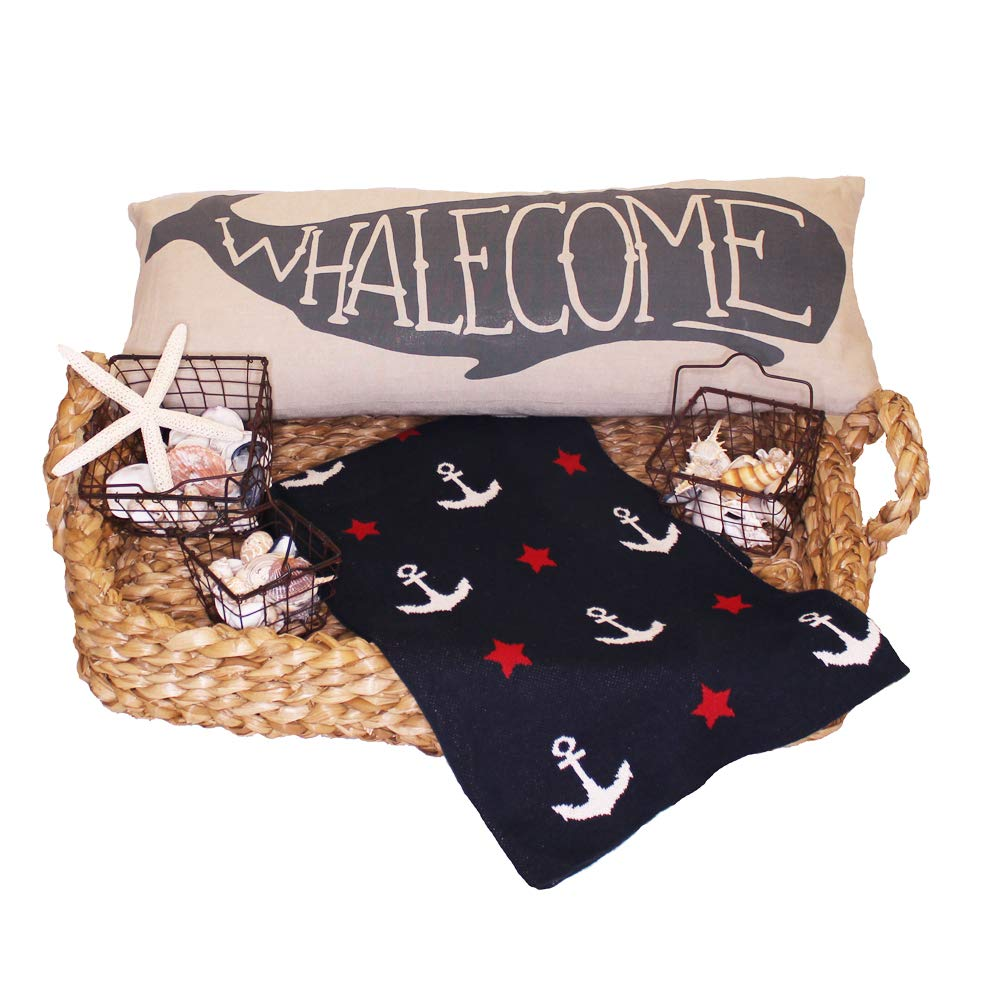 CDM product Christina Home Designs Home Decorators Collection Nautical Decor Includes Brown Weave Basket, Nautical Throw, Whalecome Pillow, Wire Basket with Starfish big image