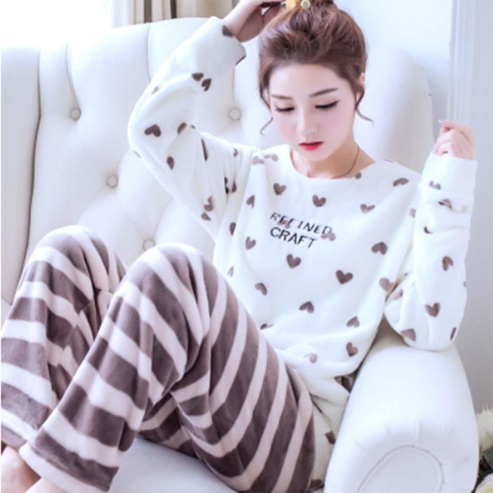 Pajama Women Fall and Winter Cute Warm and Comfortable Flannel Long - Sleeved Pajamas 2-Piece Pajama Set , L , 2# by moxin