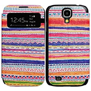 Bfun packing Colorful Stripes Tribal View Window Leather Cover Case for Samsung Galaxy S4