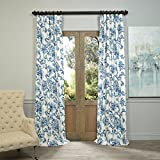 Half Price Drapes PRTW-D40-108 Indonesian Printed Cotton Twill Curtain, Blue