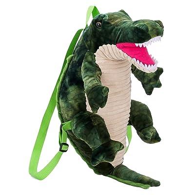 La Vogue Kids Adults Cute Plush Backpack 3D Cartoon Dinosaur Backpack Plush School Bag Zoo Trip Bag Rucksack Green crocodile   Kids' Backpacks