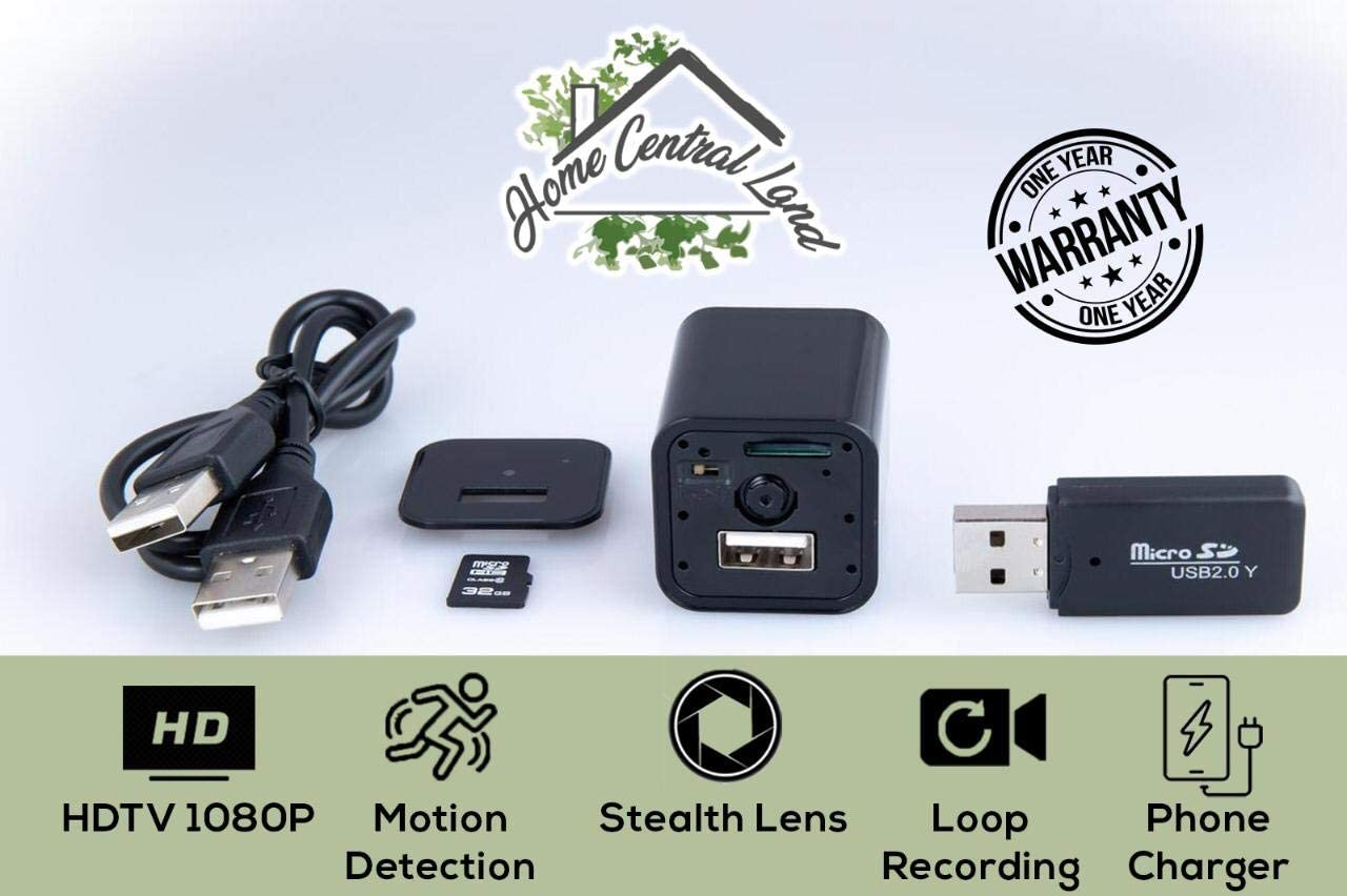 Hidden Camera 32GB SD Card Included Motion Detection USB Hidden Camera Surveillance Camera Mini Spy Camera Nanny Camera Best Spy Camera Charger Hidden Camera Charger