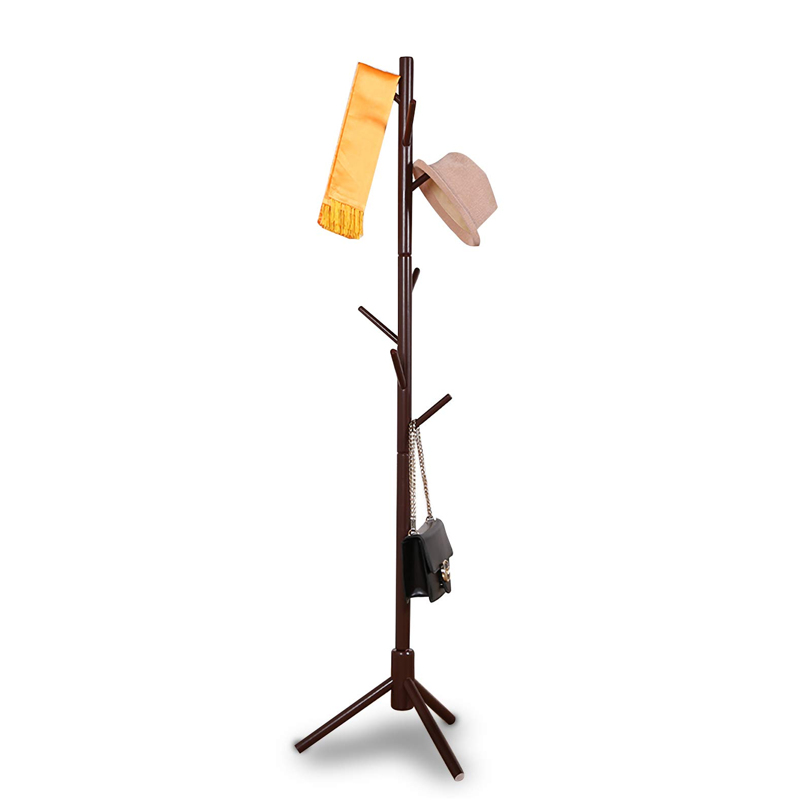 JOYBASE 8 hooks Wooden Coat Rack/Clothes Hanger Stand, for Coats, Hats, Scarves, Jacket and Handbags(Coffee)