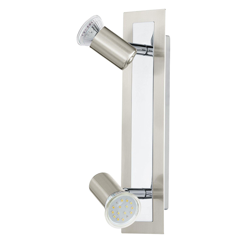 EGLO 90925 LED Wandleuchte Halva aus Stahl mit Wippschalter und Leselampe, chrom