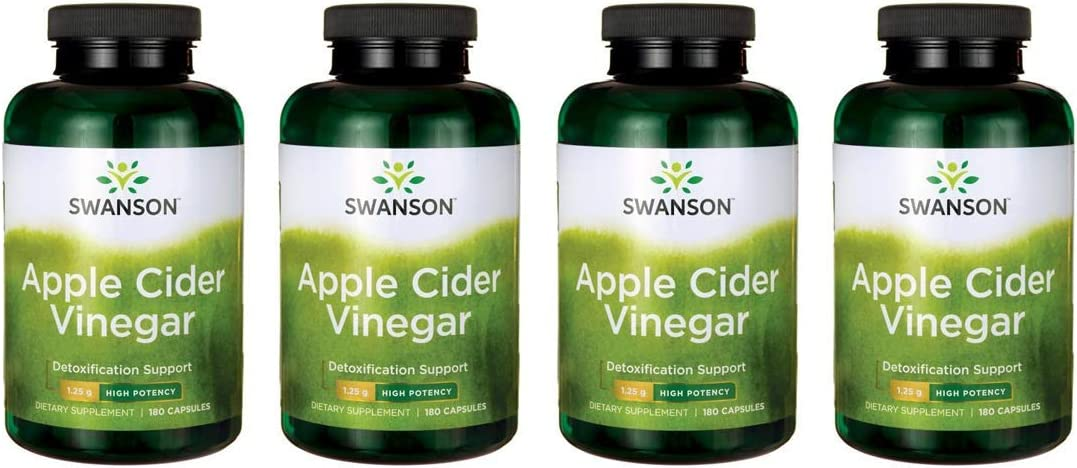 Swanson Apple Cider Vinegar – High Potency 625 mg 180 Caps 4 Pack
