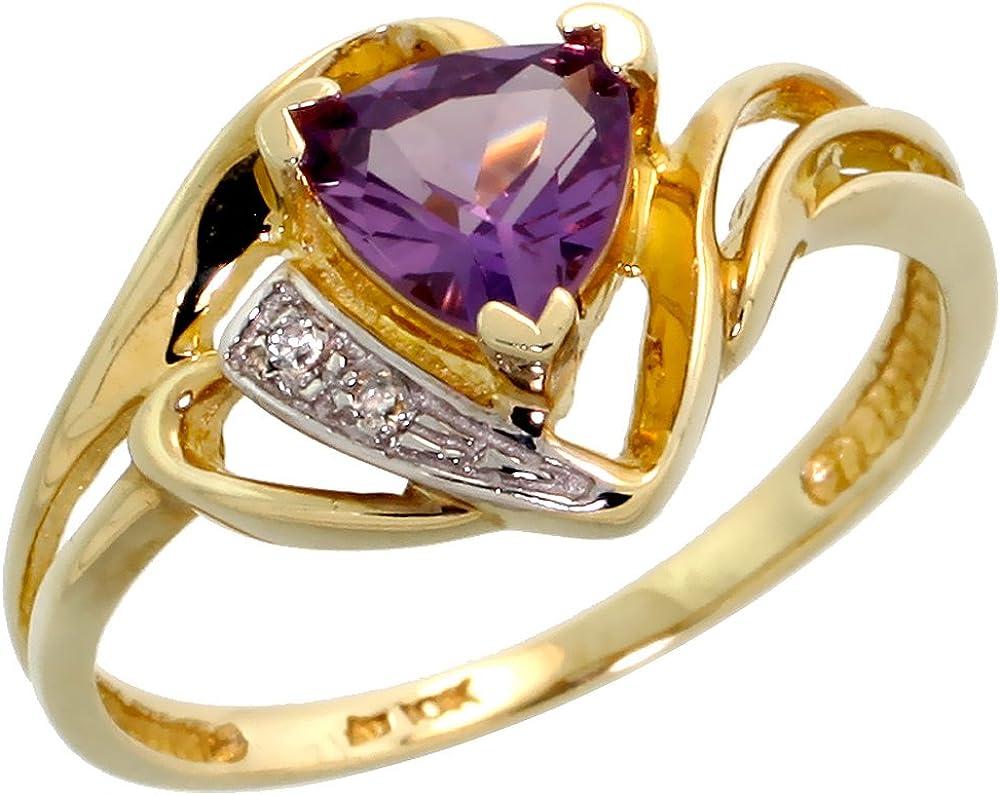 Vintage 10k Yellow Gold Tri Amethyst Ring-Multi Amethyst 10k Gold Ring-Gift For Her-February Birthstone Ring