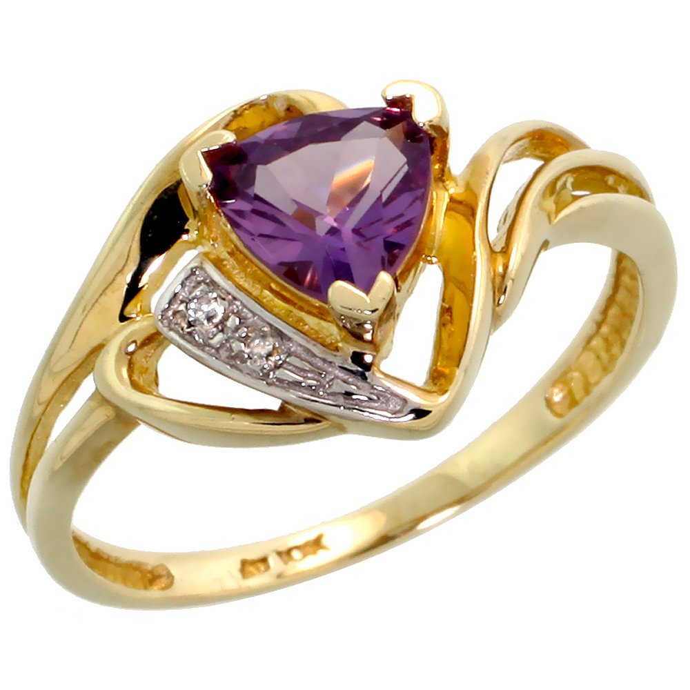 10k Gold Natural Amethyst Ring Trillium Cut 6mm February Birthstone Diamond Accent 1/2 inch wide, size 7