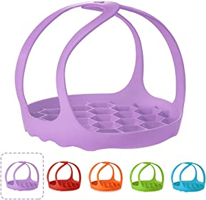 VISMOORE Pressure Cooker Sling, BPA-Free Silicone Bakeware Lifter for 6 Qt/8 Qt Pot, Anti-Scalding Silicone Egg Steamer Rack, Purple