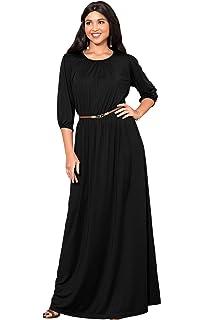 b5b6f6e12f KOH KOH Womens Long 3 4 Sleeve Pleated Vintage Solid Fall Winter Maxi Dress