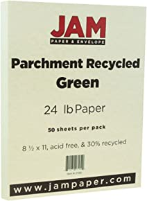 "JAM Paper Parchment Paper - 8 1/2"" x 11"" -24lb Green Recycled - 50 Sheets/Pack"