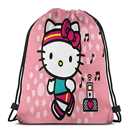 700f182fb Image Unavailable. Image not available for. Color: MPJTJGWZ Classic  Drawstring Bag-Hello-Kitty Gym Backpack Shoulder Bags Sport Storage ...