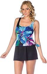 586da84a5c007 Maxine Of Hollywood Women s Scoop Neck Side Tie Faux Tankini Swim Dress One  Piece Swimsuit
