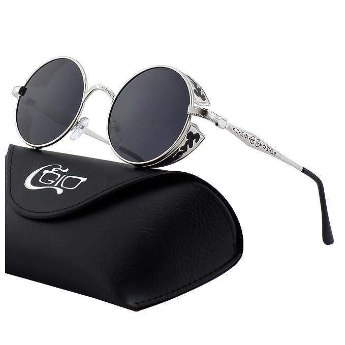 c45a4d9519 CGID E71 Steampunk estilo retro inspirado círculo metálico redondo gafas de  sol polarizadas para hombres: Amazon.es: Ropa y accesorios