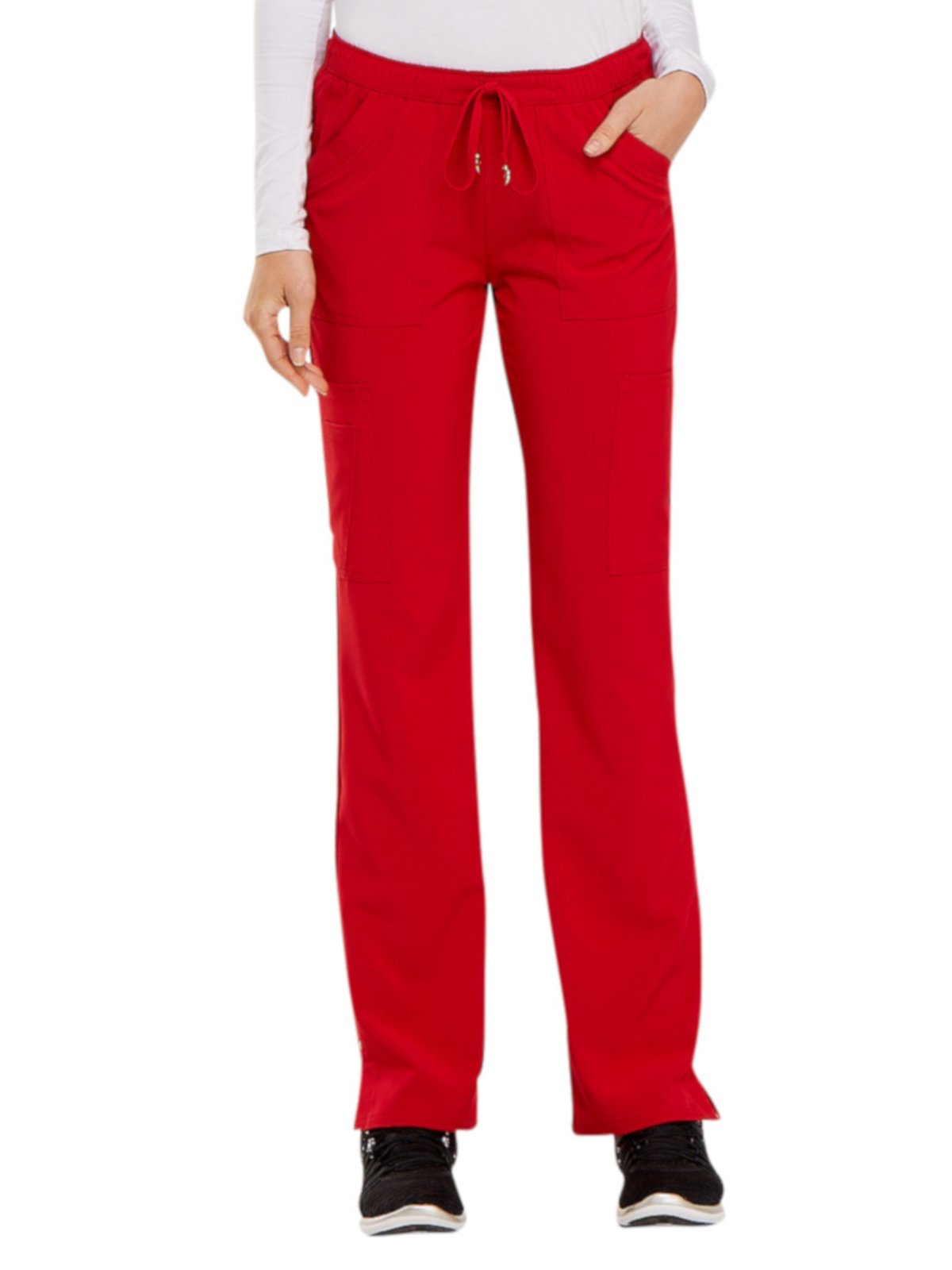 HeartSoul Love Always Women's Charmed Low Rise Drawstring Cargo Scrub Pant Small Tall Red