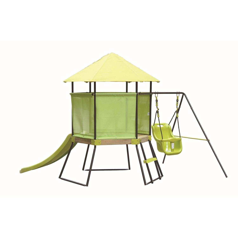 ARrotinITALY Spielhaus für draußen mit Rutsche und Schaukel