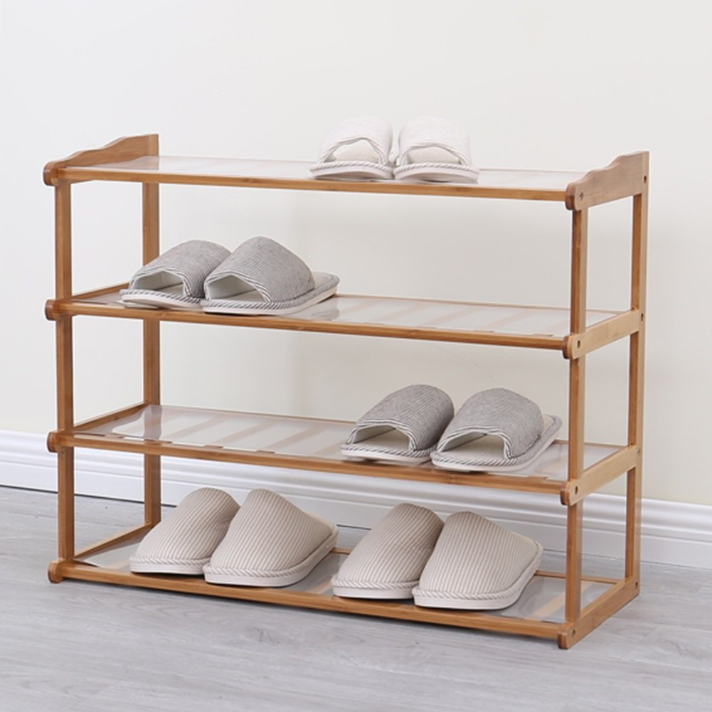 Shoes rack Bamboo 4 Layers Bedroom Hotel Balcony Simple Dust-proof Storage Shoebox (Size : 70cm-length)