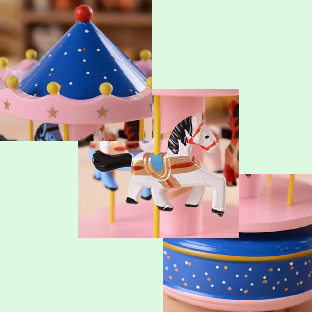 Wooden Clockwork Vintage Merry-Go-Round Toy Birthday//Christmas//Decoration//Children Gifts Flower-blue Music of Castle in the Sky MINGZE Carousel Music Box 11 Colors