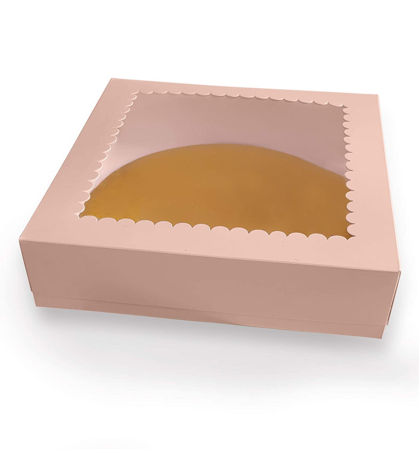 CooKeezz Couture - Light Pink Cake Boxes 10x10x2.5 Inch,Decorated Bakery Box Auto Popup for Cake, Cupcake, Muffins, Macaroons and Cookies - 12 Pack Boxes Included with 12 Cake Round Boards.