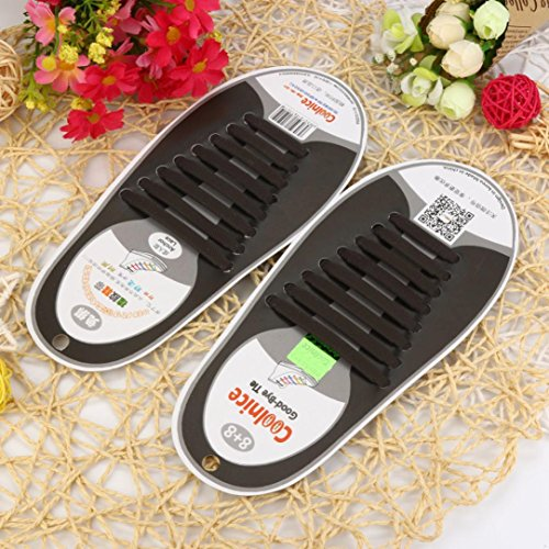 Kingko® 16PCS DIY No Tie Shoelaces for Adults Safe Waterproof Silicon Flat Elastic Stretch Environmentally Athletic Running Shoe Laces Sporting Coffee KGGaSMGW
