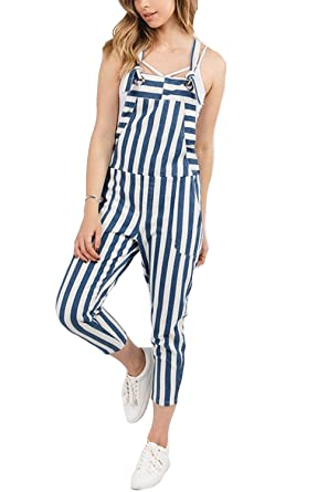 0db0ac87519161 GENx Womens Fashion Stripe Skinny Capri Pants Suspenders Denim Overall  S9077 (S