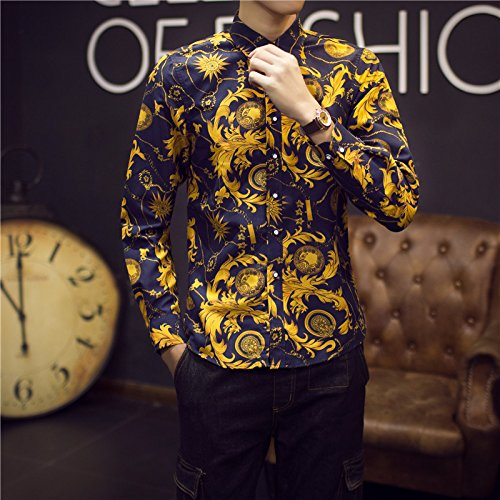Baroque Gold Blue Print Shirt by Ghoghari