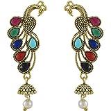 PinkCity Gold Plated Peacock Inspired Jumka Jumkai Pearl Earrings Jewellery For Girls/Women