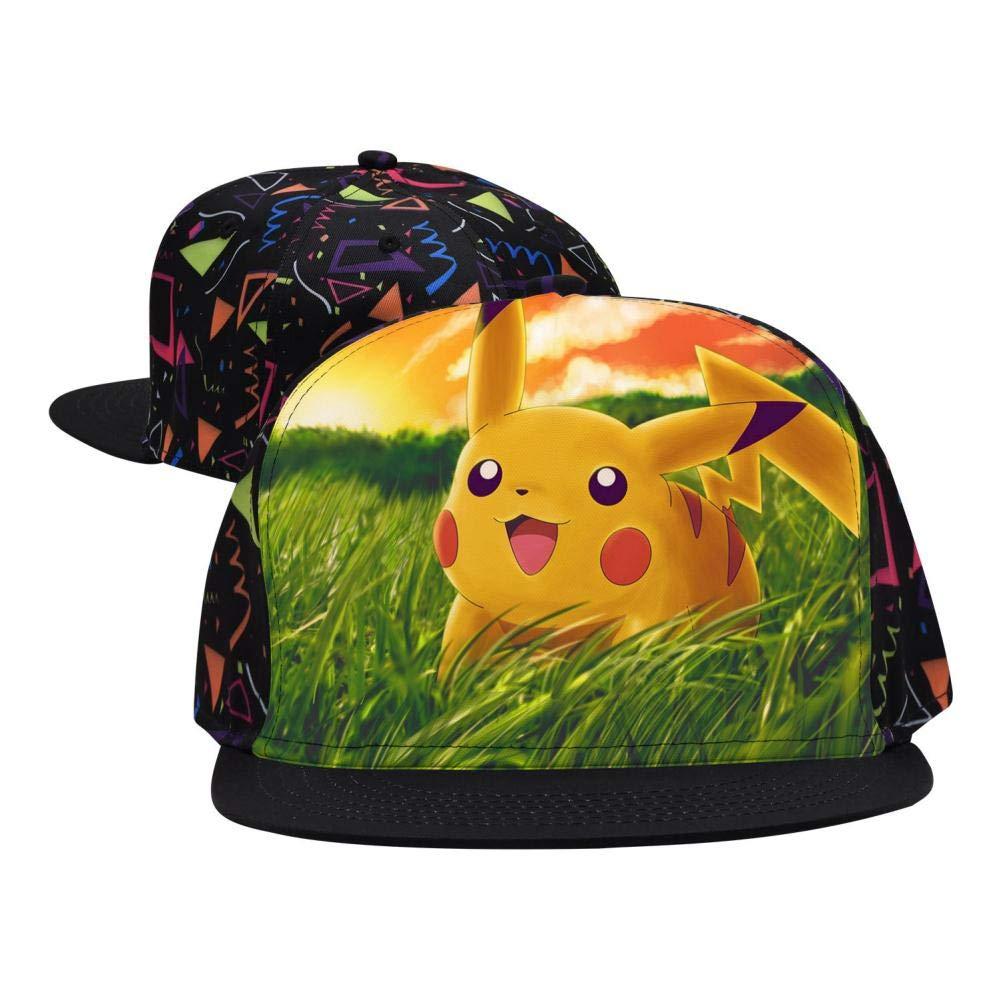 BEKAI Unisex E-evee PI-Ka Adjustable Brimbill Flats Hat for Mens//Womens Hip Hop Caps