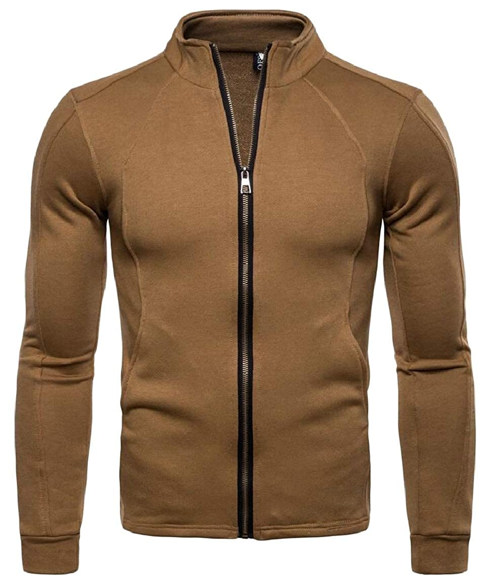 HTOOHTOOH Mens Zipper Up Stand Colalr Simple Solid Color Cardigan Sweatshirt Coat