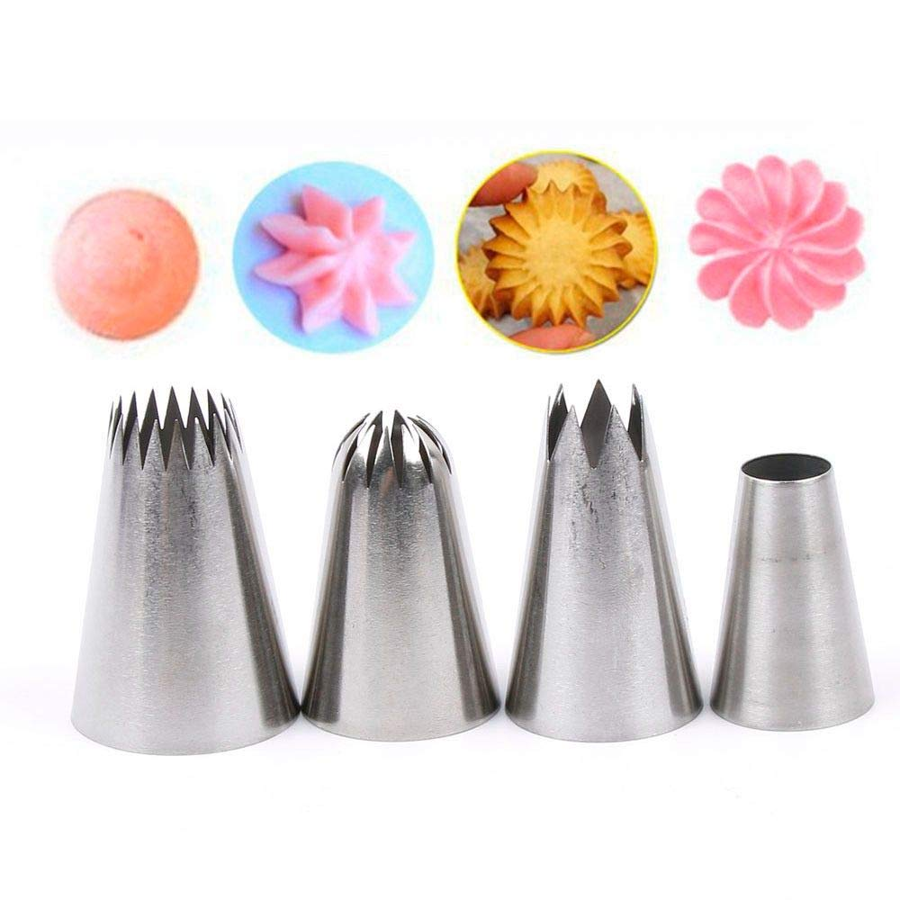 4 Pcs Large Icing Piping Nozzle Russian Pastry Tips Baking Tools Cakes Decoration Set Stainless Steel Nozzles Cupcake
