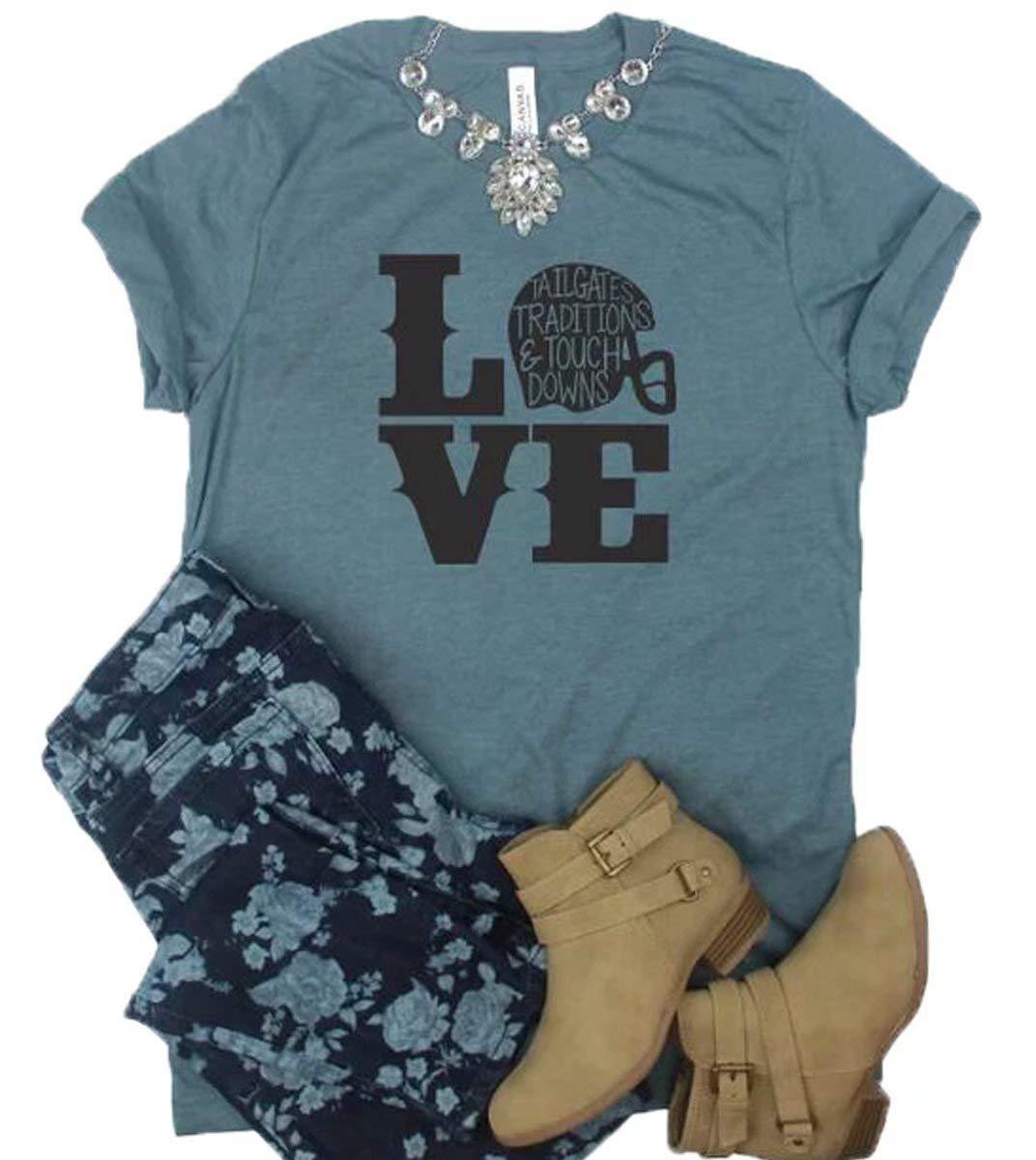 Love Football T Shirt Women Funny Cute Football Mom Graphic Tees Football Season Fall Shirt Tops