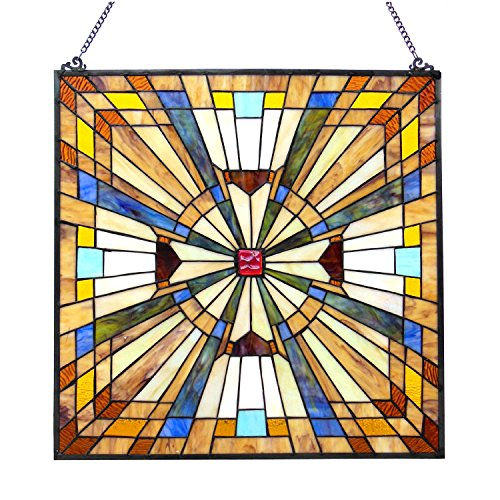 Chloe Lighting Flare Tiffany-Glass Mission Square Window Panel 24