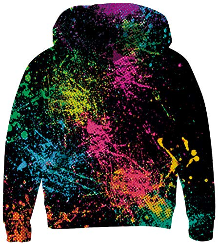 UNICOMIDEA Kid's Hoodies Black Sweatshirt Digital 3D Rainbow Splashing Ink Pullover Printing Hoodies Casual Long-Sleeve Jacket for 6-8 Years Teen Boy]()