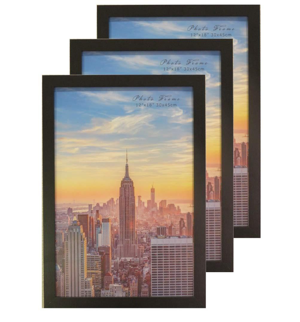Frame Amo 12x18 Black Modern Wood Picture or Poster Frame, 1 inch Wide Border, 3-Pack