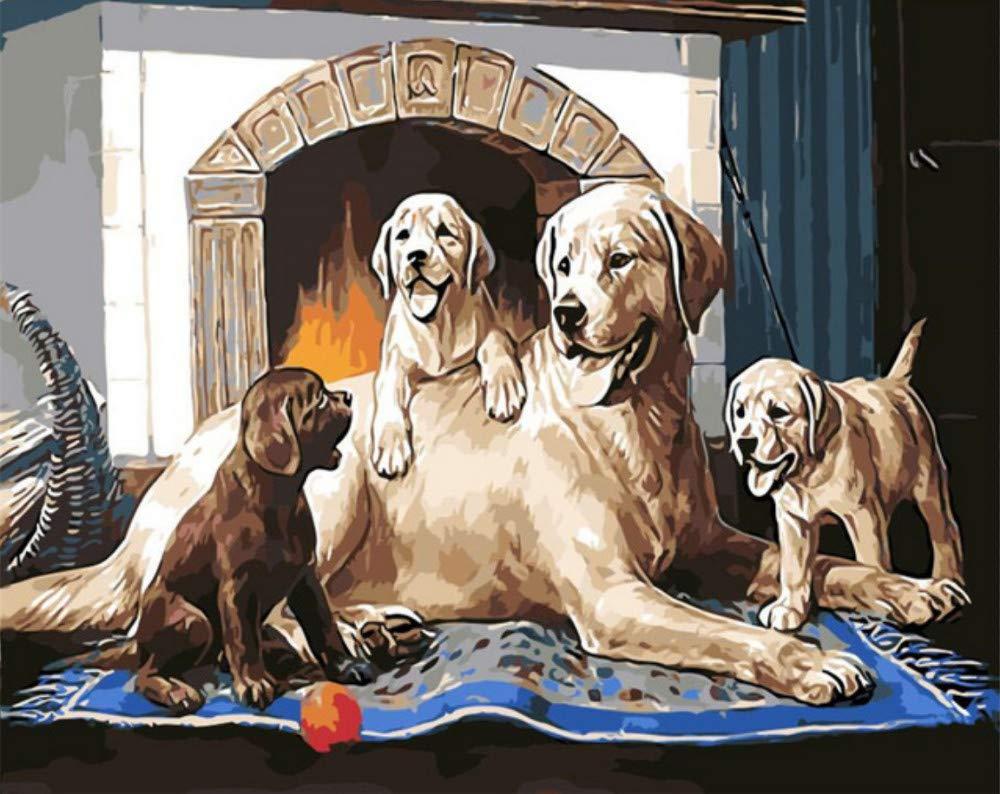Aninal Malerei Hund Familie Geschenk Für Kinder Digitales Ölgemälde Wohnkultur Wandkunst Für Wohnzimmer Schöne Pet Zeichnung Nach Zahlen 16X20 Zoll DIY Rahmen B07PR8HB53 | Sehr gute Farbe