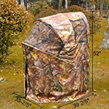 Pop Up Deer Ground Hunting Chair with Autumn Wood and Leaf Camo, Blind Camouflage