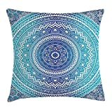 Queen Area Ethnic Spiritual Ritual Symbol Universe Cultural Center Point Balance Meditation Theme Square Throw Pillow Covers Cushion Case Sofa Bedroom Car 18x18 Inch, Pale Blue
